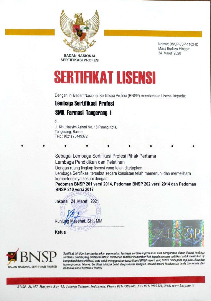 sertifikat LSP P1 SMK Farmasi Tangerang 1